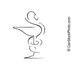 의학 표시, 단일의, 상징