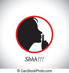 이것, 소녀, 지적, 여자, &, 중지, 을 사용하여, 올림, shh, 개념, 나이 적은 편의, 침묵하는, 말하는 것, 포함한다, 소음, 문자로 쓰는, -, 손, 말, 이다, 제작, 그녀, 집게손가락, vector., 몸짓으로 말하는 것