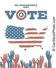 이다, 책임이 있다, 와..., vote!, 통하고 있는, 미국, map., 애국의, 포스터, 조장한다, 투표, 에서, elections.
