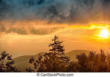 이랑, 일몰, 위의, 산, 파랑, appalachian, 공원도로, 가을