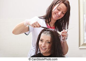 이발, 아름다움, salon., 여자, 죽는 것, hair., hairstyle.