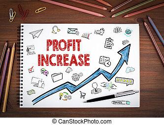 이익, 증가, 사업, concept., 노트북, 펜. 그리고, 은 연필을 착색했다, 통하고 있는, a, 나무로 되는 테이블