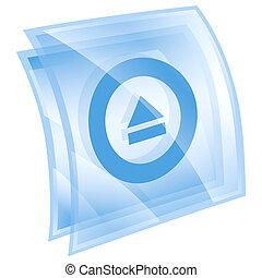 이젝트, 아이콘, 파랑, 고립된, 백색 위에서, 배경.