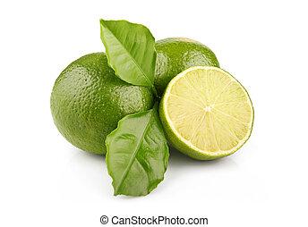 익은, 잎, 고립된, 녹색, 과일, 석회