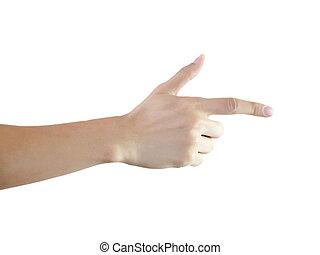 인간의 손가락, 가리키는 것, 그만큼, 오른쪽, 에서, 백색, 고립된
