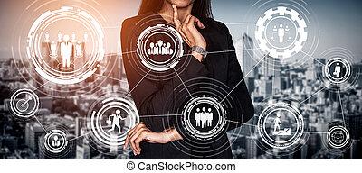 인간 사람, concept., 자원, 네트워킹
