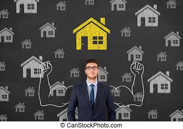 인간 손, 그림, 가정, 선택해라, 통하고 있는, 칠판