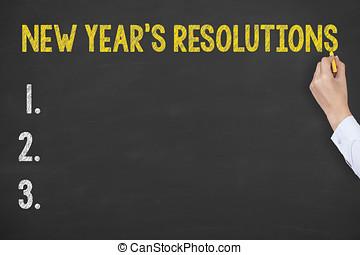 인간 손, 쓰기, 신년의 것, resolutions, 통하고 있는, 칠판