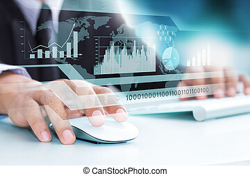 인간 손, 와..., 컴퓨터 키보드, 가령...와 같은, 상징, 의, 첨단 기술