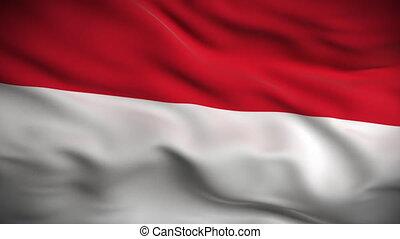 인도네시아인 깃발, hd., looped.