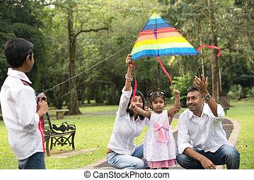 인도 사람, 가족, 노는 것, 연, 에서, 그만큼, 옥외, 공원