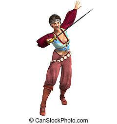 인력이 있는, 여성, 공상, 해적, 와, sword., 3차원, 지방의 정제, 위의, 백색