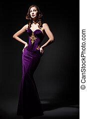 인력이 있는, 여자, 입는 것, 보랏빛의 드레스