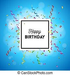 인사, 생일, 기드림, 벡터, 카드, 행복하다