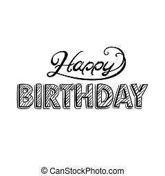 인사, 생일, 벡터, 디자인, 카드, 행복하다