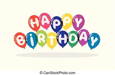 인사, 생일, 벡터, 배경, 카드, 행복하다