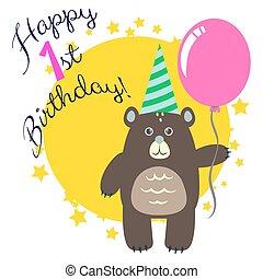 인사, 생일, bear., 처음, 카드, 행복하다