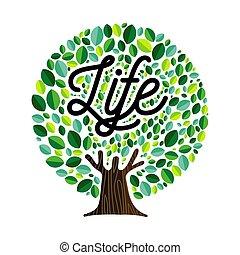 인생, 개념, 잎, 나무, 삽화, 녹색