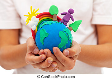 인생, 통하고 있는, 지구, -, 환경, 와..., 생태학, 개념