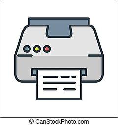 인쇄기, 아이콘, 색, 삽화, 디자인