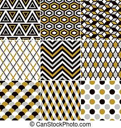 인쇄, 금, 패턴, seamless