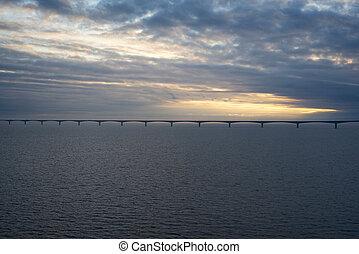 일몰, 다리, 캐나다, 하늘, 연합, 위의