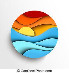 일몰, 에서, 그만큼, sea., 벡터, 아이콘, 삽화