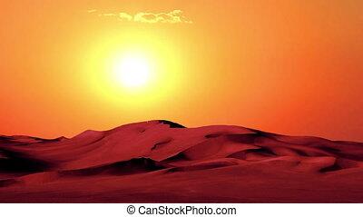 일몰, 에서, 사막
