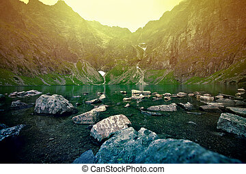 일몰, 위의, 산., 호수