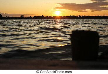 일몰, 통하고 있는, 그만큼, 호수