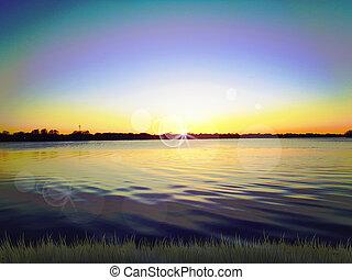 일몰, 통하고 있는, 호수