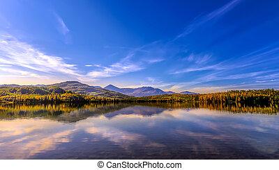 일몰, 통하고 있는, skilak, 호수, 에서, 알래스카, 동안에, 가을