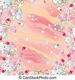 일본어, 버찌, seamless, 꽃, f