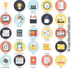 일, 도구, 와..., 사업, 주제, 바람 빠진 타이어, 스타일, 다채로운, 벡터, 아이콘, 세트
