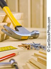 일, 도구, 통하고 있는, 테이블