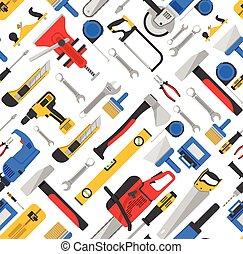 일, 도구, seamless, 패턴