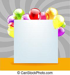 일, 색, 행복하다, 카드, 생일