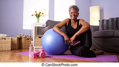일, 후에, 할머니, african, 나가, 행복하다