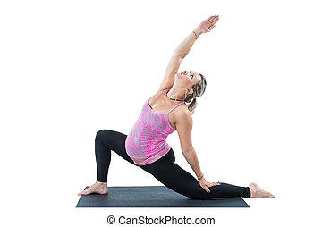 임신하고 있다, 적당, 여자, 만들다, 뻗기, 통하고 있는, 요가, 와..., pilates, 자세, 백색 위에서, 배경, 그만큼, 개념, 의, 스포츠, 와..., 건강