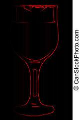 입술 연지, 통하고 있는, 빨강, 아우트라인, 포도주 잔