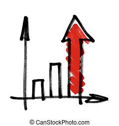 입신한, 사업, 그래프, 와, 빨강, 차광되는, arrow.
