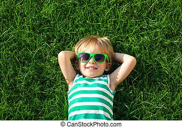 있는 것, 녹색, 봄, 행복하다, 풀, 아이
