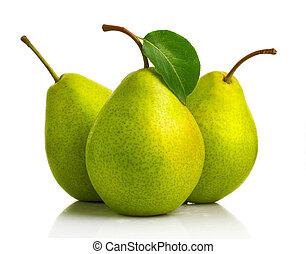 잎, 서양배, 3, 고립된, 녹색, 과일