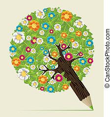 잎, 연필, 나무, 꽃, 개념