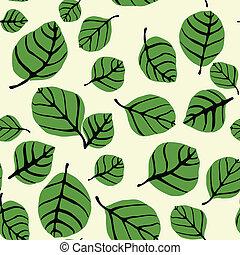 잎, 형체, seamless, 패턴
