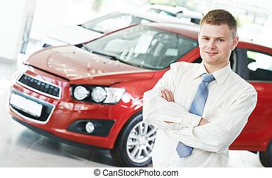 자동차, 자동차 대리점, salespersom, 매니저