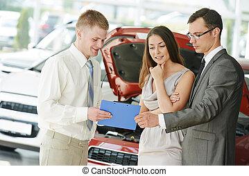 자동차, shopping., 가족, 구입, 자동차, 차