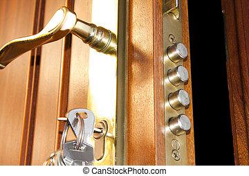 자물쇠, 안전, 문, 가정