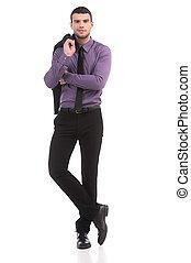 자부하는, businessman., 충분한 길이, 의, 자부하는, 청년, 에서, formalwear, 사진기를 보는, 동안, 고립된, 백색 위에서