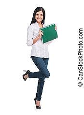 자부하는, woman., 충분한 길이, 의, 쾌활한, 젊은 숙녀, 보유, 노트 덧대는 것, 에서, 그녀, 손, 와..., 미소, 동안, 서 있는, 고립된, 백색 위에서